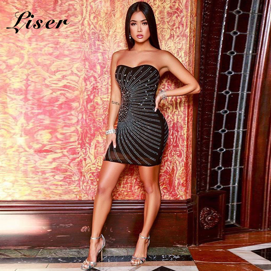 Perles En Élégante Noires Femmes Celebrity Bretelles Party Gros Noir Summer Robe Sexy Robes Moulante 2019 Liser New xrCoedB