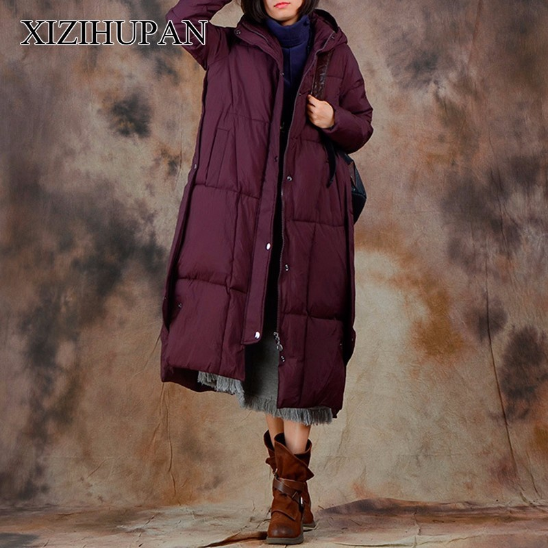 XIZIHUPAN Thick Down Overcoat For Women Plaid Zipper Loose Big Size Coat Female Hooded X Long Casual Clothes Fashion New fashionable thick hooded pleated down coat for women