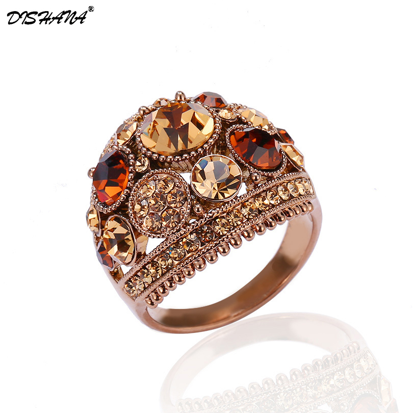 2018 Vintage Punk Fashion luxury Rings for Women and Men Colorful Jewelry Shiny Rhinestones Love Ring Bague Bijouterie (KA0001)