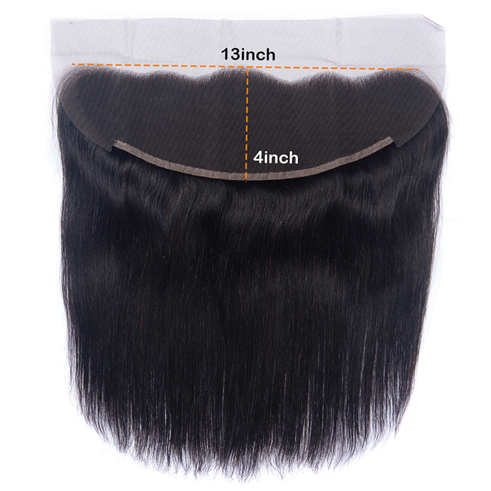 Peruvian Straight Human Hair Lace Frontal Closure 13x4 With Baby Hair Swiss Lace Natural Color Non Remy
