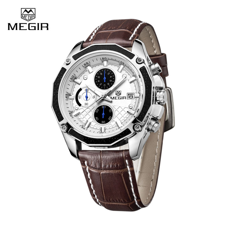 megir luxury brand watch men quartz wristwatches leather. Black Bedroom Furniture Sets. Home Design Ideas