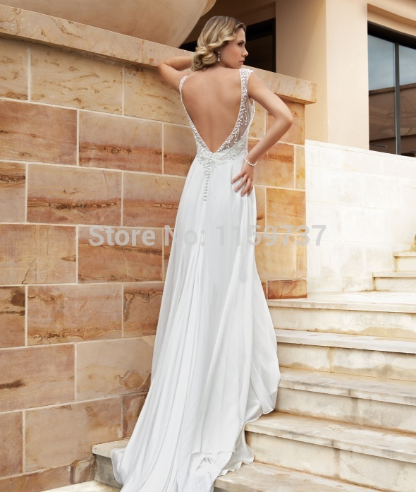 55b6ae7339 Linen Wedding Dress Plus Size Casual Dresses Cheap Beach Sheath Floor  Length Sweep Brush Train Beading High Cap S 2015 Discount-in Wedding Dresses  from ...