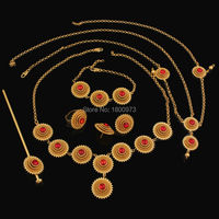 Ethiopian 6pcs Jewelry Sets Habesha Jewelry Gold Filled Colorful Stone African Wedding Jewelry sets Free Shipping