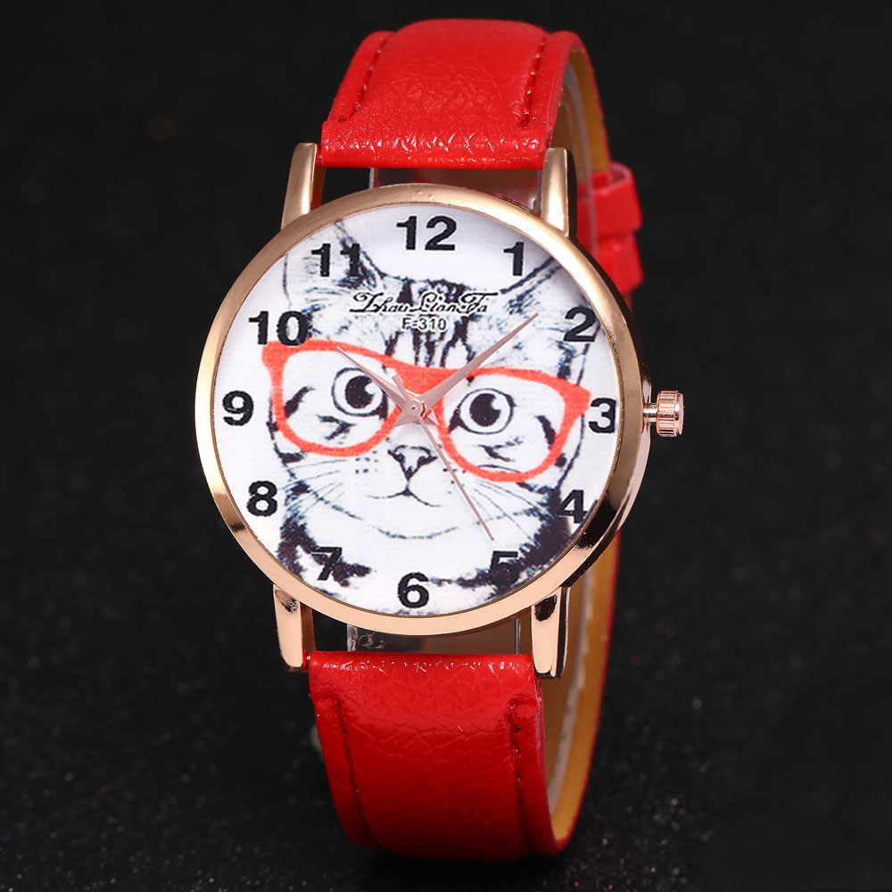 Fashion Women Watches Brand Luxury Cute Cat Leather Band Analog Quartz Round Wrist Watch Watches Montre Femme Reloj Mujer &Ff
