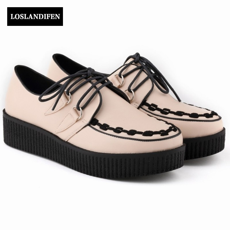 Autumn New Arrival Women Shoes Wedges Heel Platform Pu Leather For Women Punk Shoes Casual Round Toe Lace Up Fashion Femme Pumps genuine cow leather spring shoes wedges soft outsole womens casual platform shoes high heel round toe handmade shoes for women