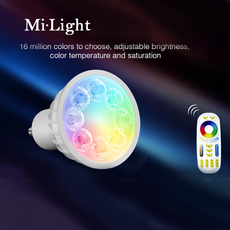 Milight AC86-265V 4W GU10 RGB+CCT LED Dimmable 2.4G Wireless Milight Led Bulb Led Spotlight Smart Led Lamp Lighting dc12v 2 4g wireless milight dimmable led bulb 4w mr16 rgb cct led spotlight smart led lamp home decoration
