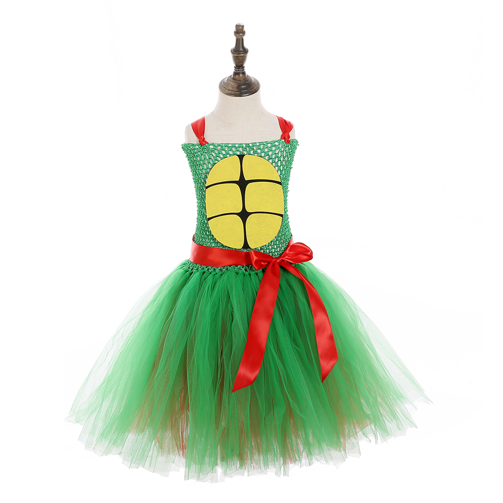 Girls Superhero Ninja Pattern Sleeveless Casual Party Dress Teenage Turtles Cosplay Halloween Tutu Dress Girls Custome Dresses (4)