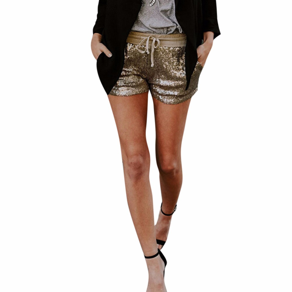 Newnew coming lovely fashion women sequins shorts mid waist sexy pocket shorts causal hotdrop shopping