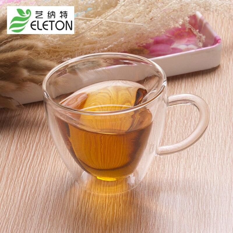 ELETON Kreativní žáruvzdorná dvojitá průhledná skleněná nádoba ve tvaru srdce, šálek mléka, čajové šťávy, šálek kávy