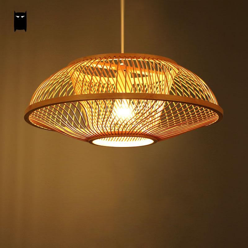 Bamboo Wicker Rattan Embryo Shade Pendant Light Fixture Country Retro Vintage Hanging Lamp Plafon Design Dining Table Tea Room