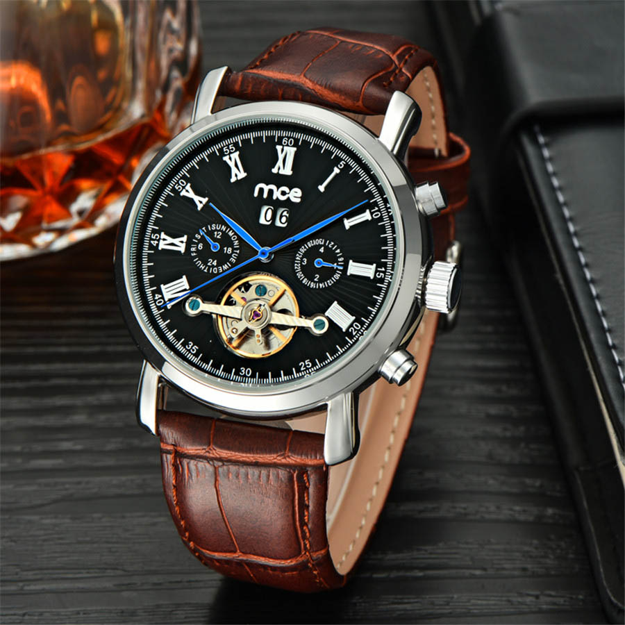 Men's Watches Automatic Mechanical Watch Tourbillon Clock Leather Casual Business Watch Top Brand Sports Watch relogio masculino stainless steel 23mm milanese magnetic loop watch band wrist strap for fitbit blaze metal bracelet black silver rose gold i88