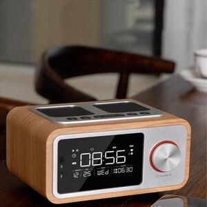 Image 5 - LEORY عن سمّاعات بلوتوث Fm راديو بساعة منبه MP3 سطح منزل خشبي اللاسلكية الموسيقى لاعب 2500mah اللغة القوية