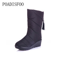 POADISFOO Women Shoes Winter Down Boots Women Cotton Shoes Snow Boots Warm Red Classic XZ 12