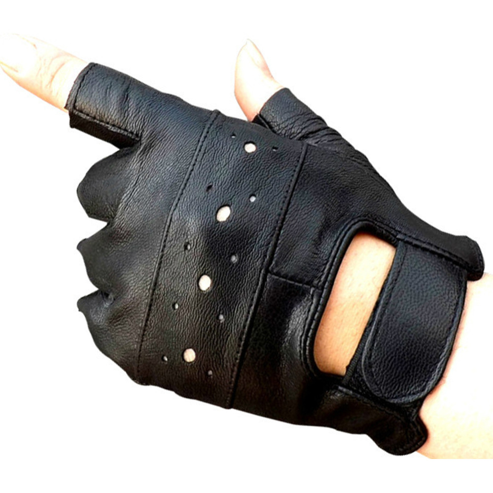 Fingerless leather gloves mens accessories - Kuyomens Men Fingerless Gloves Women Half Finger Glove Unisex Adult Fingerless Mittens Real Genuine Leather
