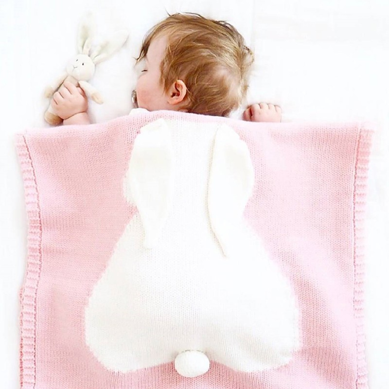 Gray Pink Baby Blankets Rabbit Crochet Newborn Blanket Kids Personalized Cotton Bedding Cover Babies Photo Props