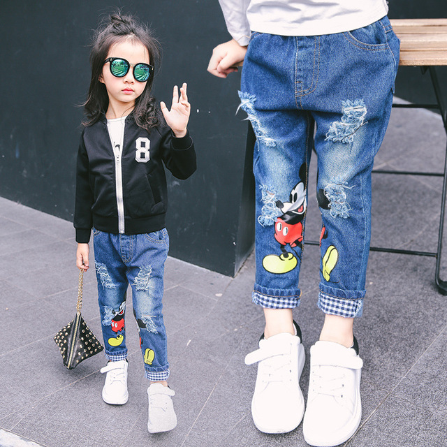 New girls cartoon demin trousers children jeans kids casual pants spring autumn baby pants printed mickey frazzle pant 16A12