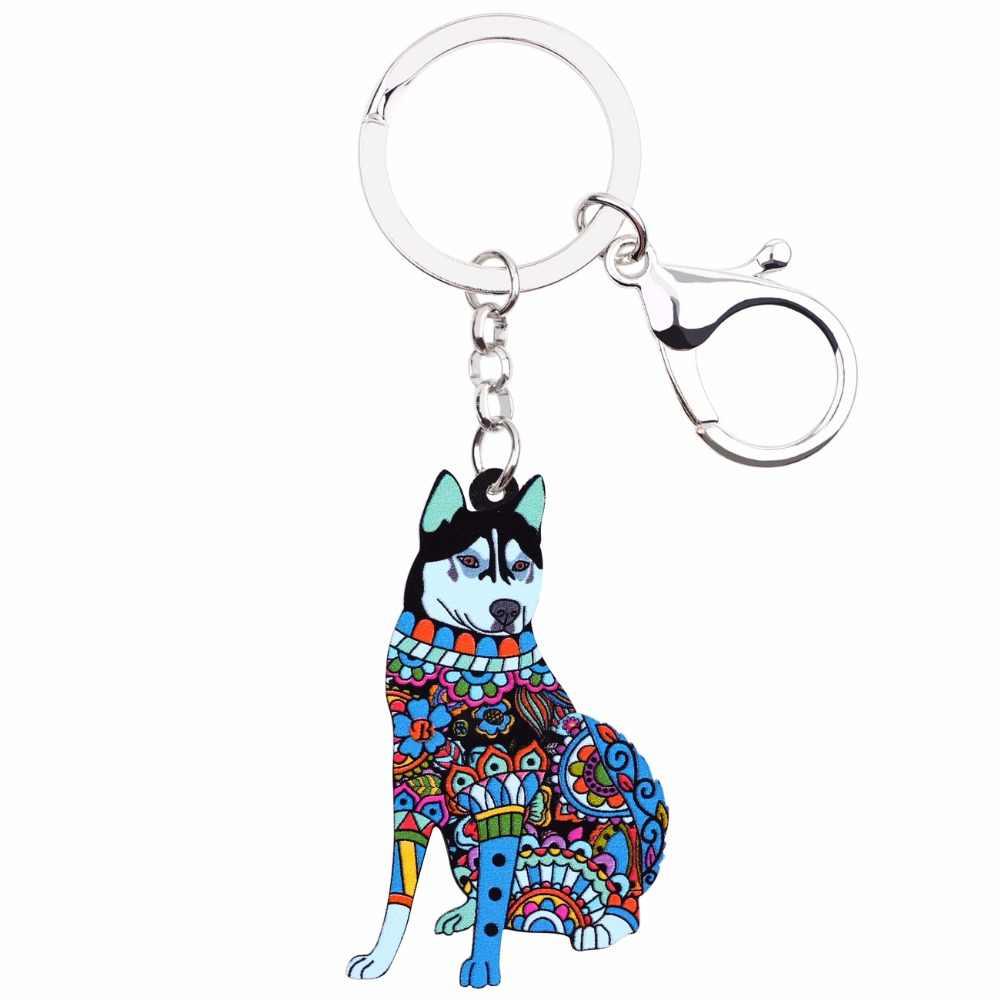 WEVENI อะคริลิคเครื่องประดับสุนัข Husky Key Chain สำหรับผู้หญิงสาวกระเป๋าจี้ Key จี้ Charms จี้จี้