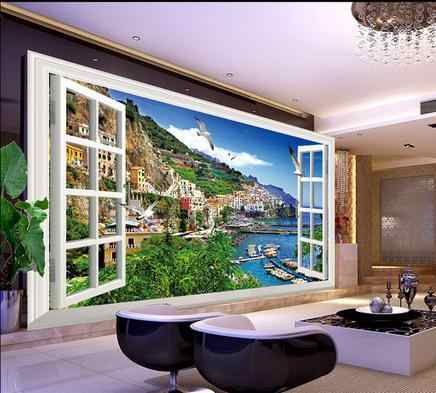 3D wallpaper custom photo wallpapers mural 3 d window scenery sea bridge TV setting wall papers home decoration