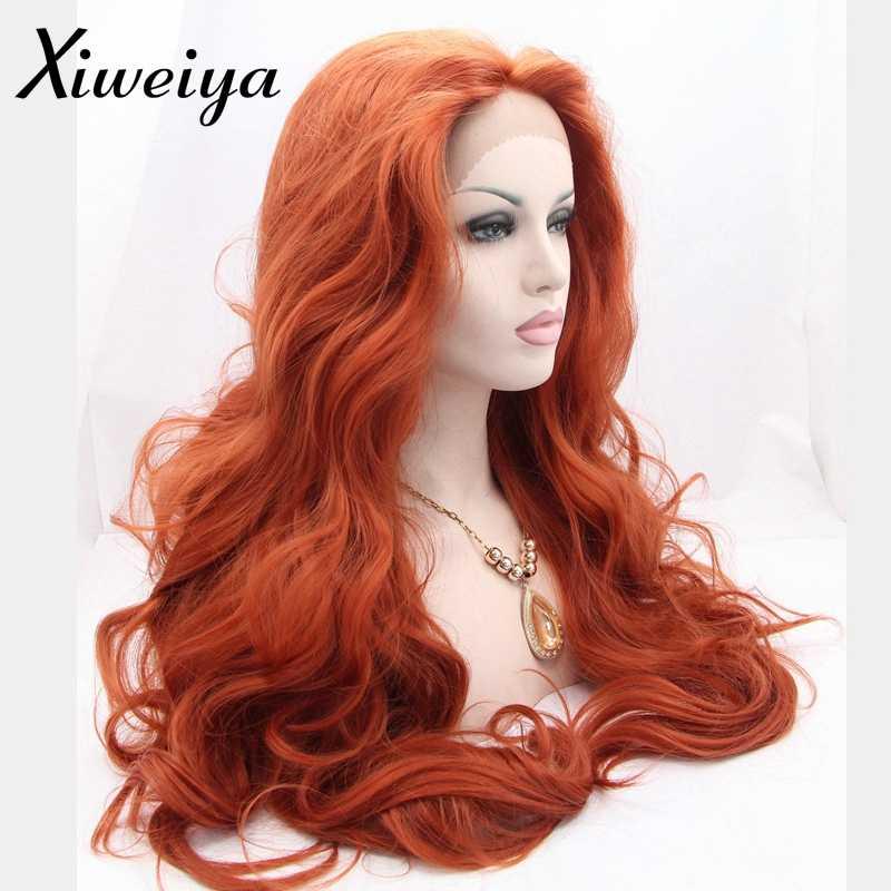 Xiweiya жаростойкий синтетический медный красный парик с кружевом спереди белый женский длинный красный парик для волос волнистая волна безглютенового сопротивления королева мягкий парик