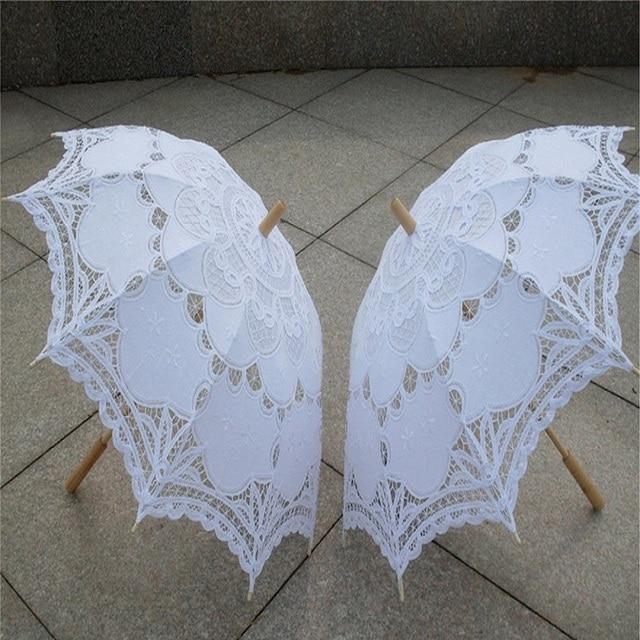 2017 Bridal Umbrella White Lace Parasol Handmade Summer Battenburg Lace Wedding Umbrella Wedding Decorations Wedding Accessories