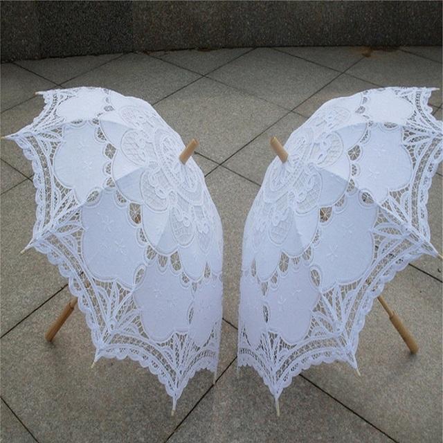 2017 Guarda-chuva Guarda-chuva de Noiva Branco Battenburg Lace Parasol Handmade Verão Guarda-chuva Do Casamento Do Laço Acessórios Do Casamento Decorações De Casamento
