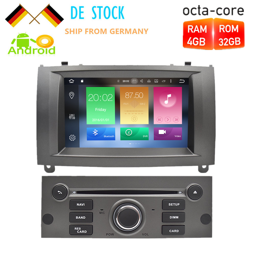 7 Android 8.0 Voiture DVD Lecteur Multimédia Stéréo Pour Peugeot 407 2004 2005 2006 2007 2008 2009 2010 Autoradio GPS Navigation