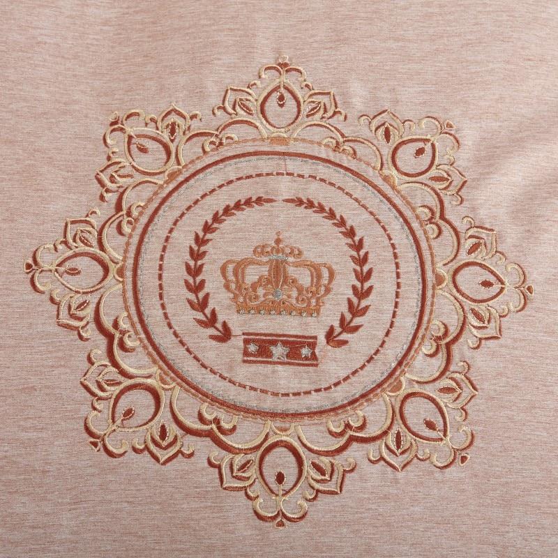 Embroideryluxury 4 pcs Fios tingidos de veludo de algodão conjuntos de cama queen size rei set capa de edredão saia da cama definir roupas de cama fronha - 4