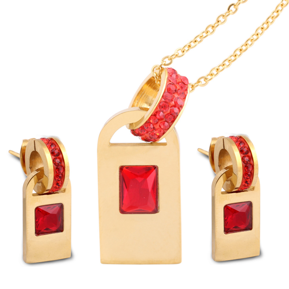 여성 결혼 반지 세트 1 쌍 포함 스테인레스 스틸 CZ 스터드 귀걸이 및 1 개 CZ 스톤즈로 만든 체인 펜던트 목걸이