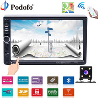 Podofo 2 din Car Multimedia Player GPS navigation Bluetooth Audio Stereo radio 7HD MP5 Touch USB FM Rear View Backup Camera
