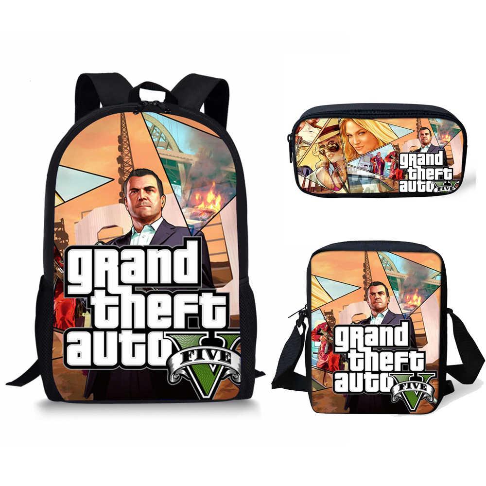 3e7763d7890e Coloranimal Grand Theft Auto V Hot Game Famous Design Boy Girl Schoolbags  3Pcs Set Kid Backpack