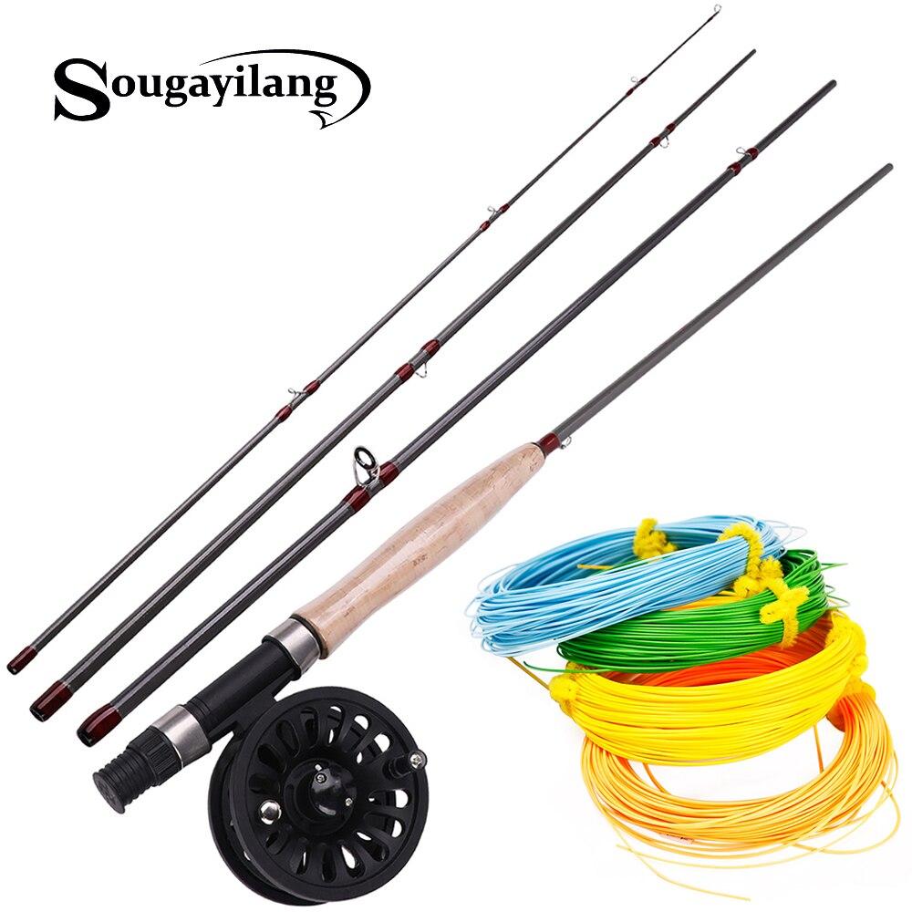 Sougayilang 2.7 M 4 Section canne à pêche à la mouche et moulinet à la mouche 4F 100FT pêche à la mouche LineCombo pour la pêche à l'achigan et au brochet en eau douce