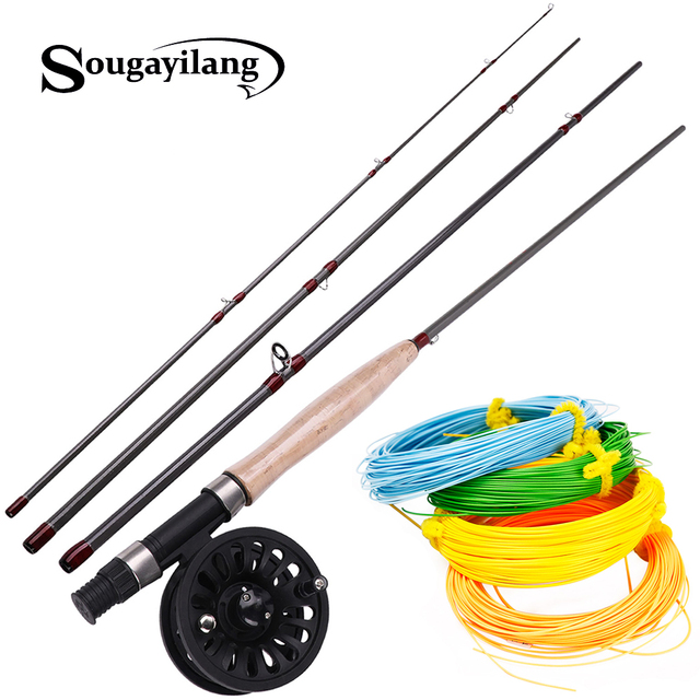 Sougayilang 2.7M 4 Section Fly Fishing Rod and Fly Reel 4F 100FT  Fly Fishing LineCombo for Freshwater Travel Bass Pike Fishing