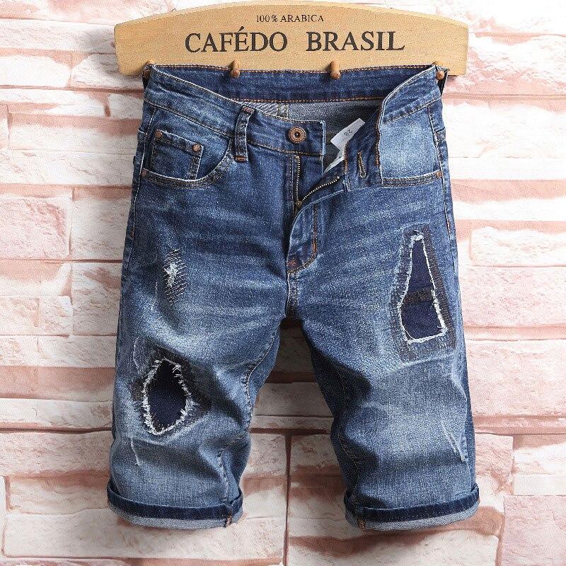 2019 Summer Top Men Jeans Shorts,Blue Color Fashion Designer Short Ripped Jeans For Men Denim Shorts Knee Length