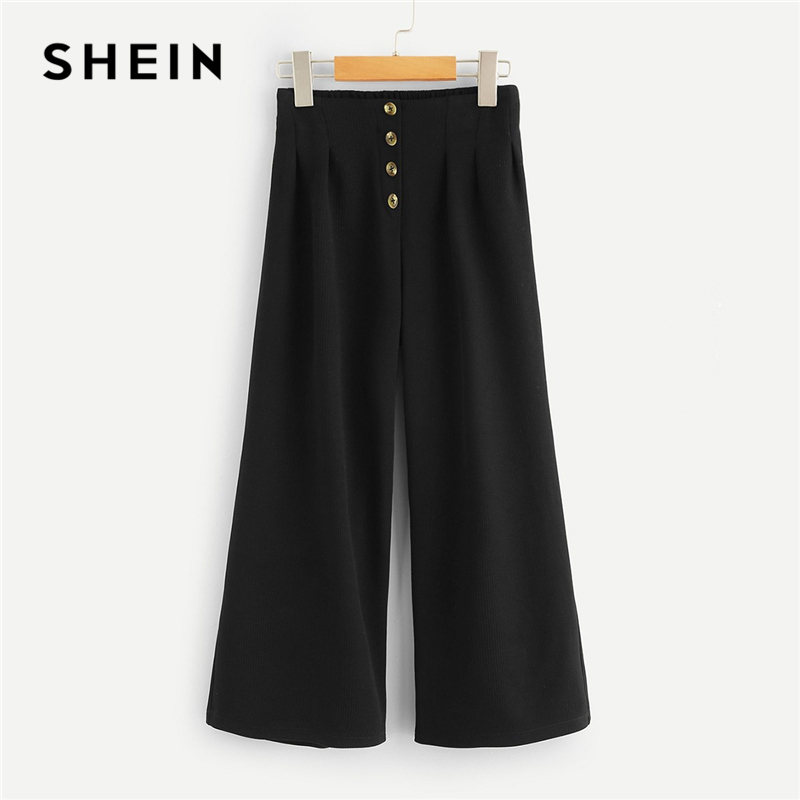 SHEIN Kiddie Black Button Wide Leg Girls Pants 2019 Spring Korean Fashion Casual Trousers Elegant Pants Girl Kids Clothing solid self belted wide leg pants
