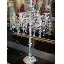 free shipping wedding decoration floor metal silver plated candle holder with crystal for showpiece
