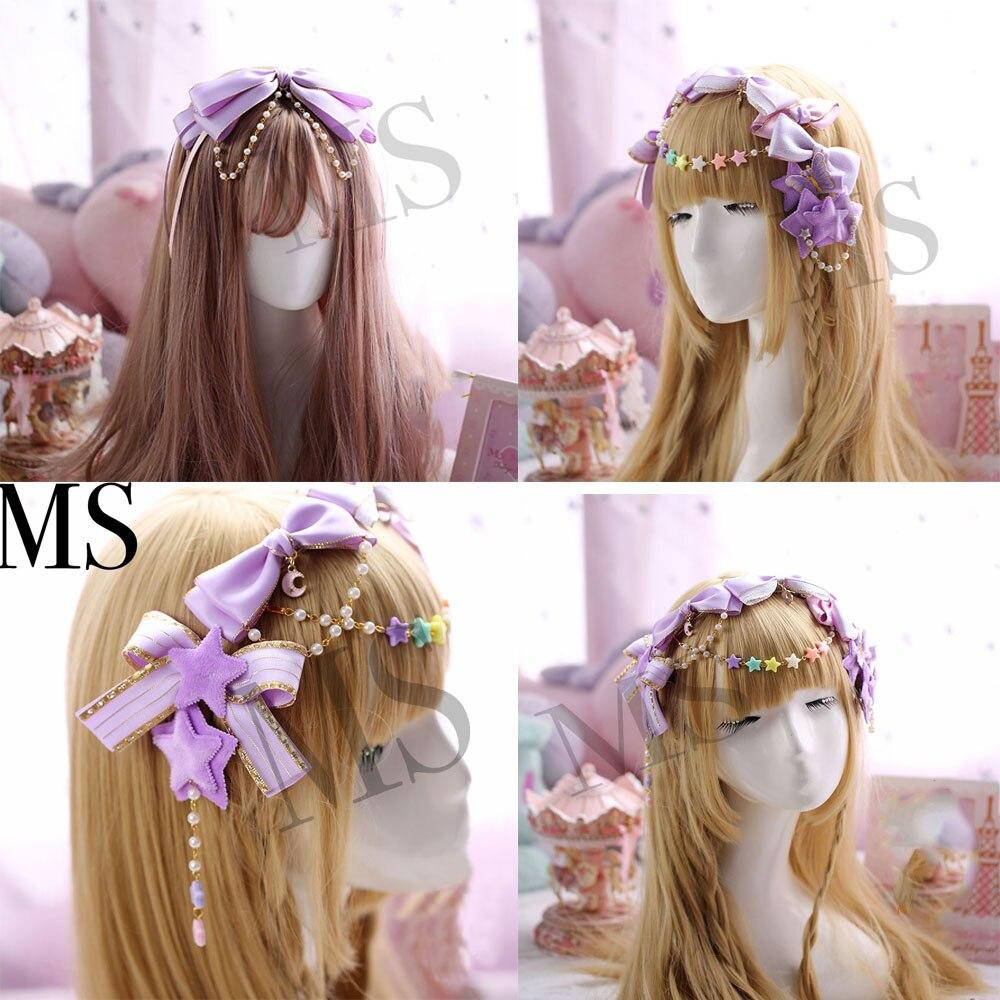 Bow Headdress Hair-Accessories Japanese Lolita Hairpin Handmade Pink Purple Soft