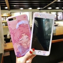 Blue ray soft case + glass flim For iPhone 7 7plus Sailor Moon Cases & Tempered Glass Screen film For iphone X 8 8plus 6 6s 6SP