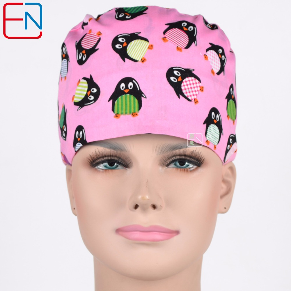 Hospital Medical Surgical Cap Women 100% Cotton Pink Penguin Printed Medical Scrub Operation Caps Adjustable Medical Accessories