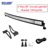 Oslamp Tri Row 50inch Curved Light Bar Offroad LED Light with Upper Windshield Mount for for Ford F 250/F 350/F 450 Super