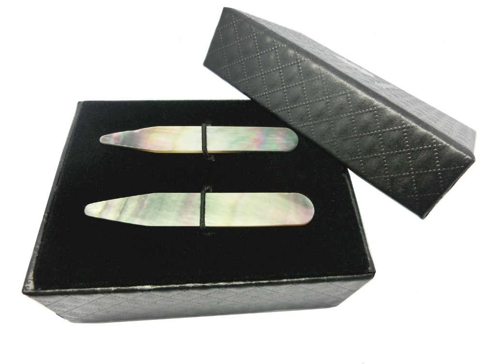 SHANH ZUN Collar Stiffeners Mother Of Pearl - Gift Box - Shirt Accessories Silver Gold White Black Colours
