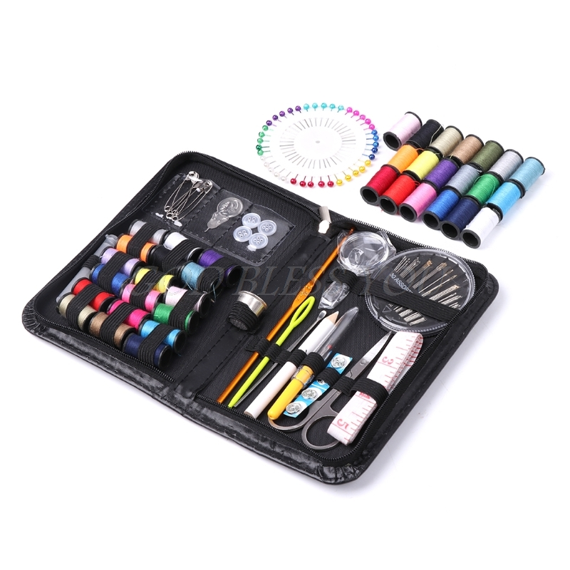 116PCSSet Sewing Kit Box Threads Needles Buttons Scissor Travel Stitches Tools