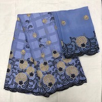 Excellent African embroidery cotton lace fabric matching Swiss voile lace cloth for sewing dress set CYE30