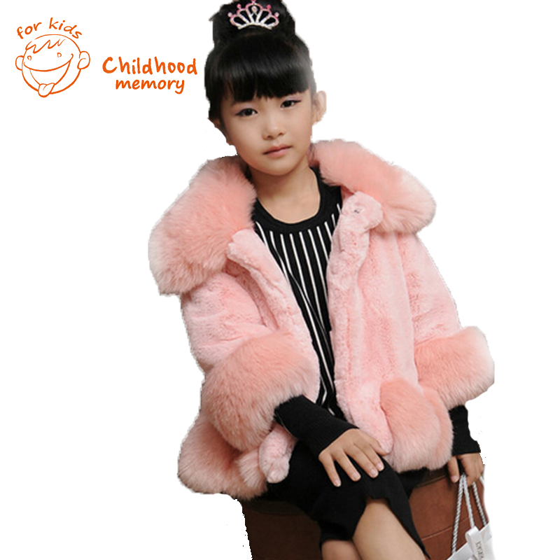 ФОТО faux rabbit girls fur jacket european and american style family fitted 2015 new autumn winter fashion mink fur coat for girls