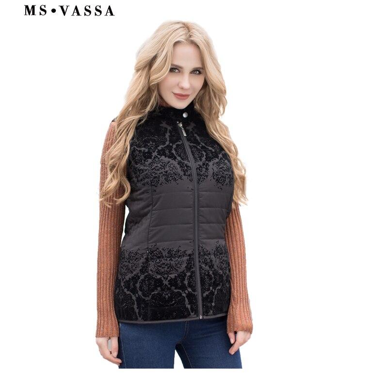 MS VASSA Women Vest Autumn Spring 2018 New Waistcoats with flock stand up collar sleeveless Jackets