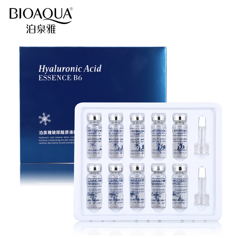 BIOAQUA 10pcs/lot Vitamin Hyaluronic Acid Serum Moisturizer Facial Skin Care Set Anti Wrinkle Anti Aging Collagen Essence Liquid