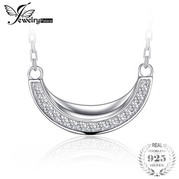 JewelryPalace Channel Set Cubic Zirconia Moon Crescent Collar Necklaces 925 Sterling Silver 45cm Cable Chain For Women Jewelry