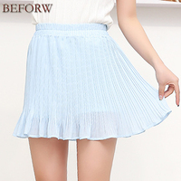 Chiffon Tulle Ruffle Skirts Womens Summer Beach Sexy Skater Pleated Skirt Women Fashion High Waist Skirt