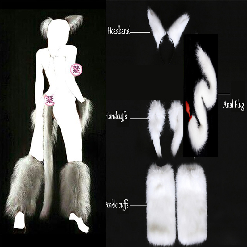 Long White Sexy Faux Fox Tail  Hand Cuffs Ankle Cuffs Headband Cosplay Set Anal Plug Silicone Butt Plug Sex Toys For Adult Games adult artificial 70cm long fox tail butt plug animal tail metal anal sex toys role play flirting sex toys for woman dw 010