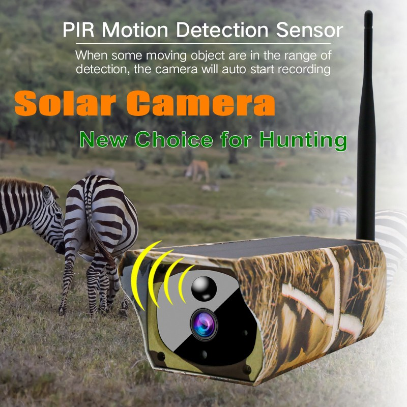 New Style Solar Powered IP Camera Hunting Camera Y4 1080p waterproof outdoor security Wifi CCTV Camera PIR Motion 2-way Audio