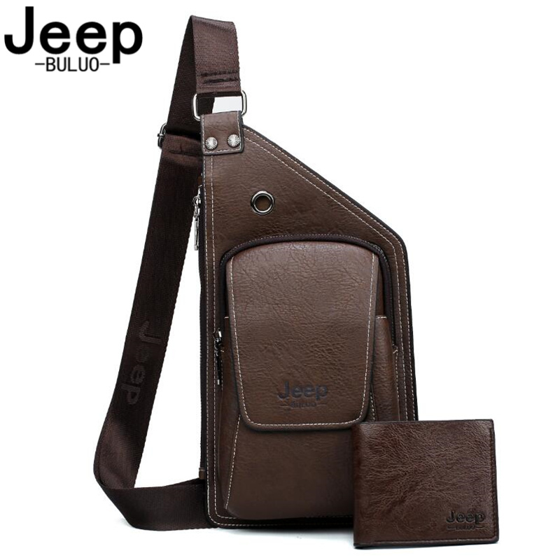 JEEP BULUO Brand Men's Leisure Chest Bag Combination Of Chest Bags And Purse Specially Created For Men High-quality Travel Bags